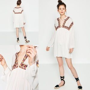 ZARA FULL FLOWING EMBROIDERED DRESS